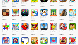 "A quick search for ""kids"" apps yields bright, fun colors."